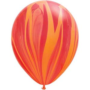 BALLOONS LATEX - SUPER AGATE RED & ORANGE PACK OF 25