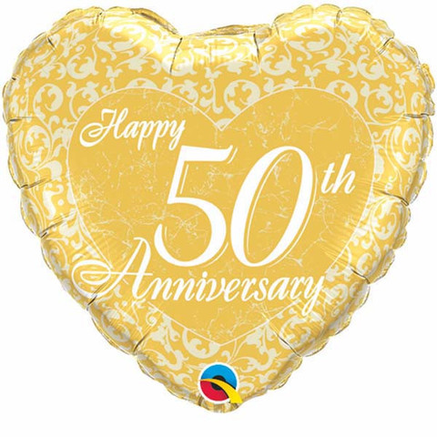 FOIL BALLOON - 50TH GOLD ANNIVERSARY HEART SHAPED
