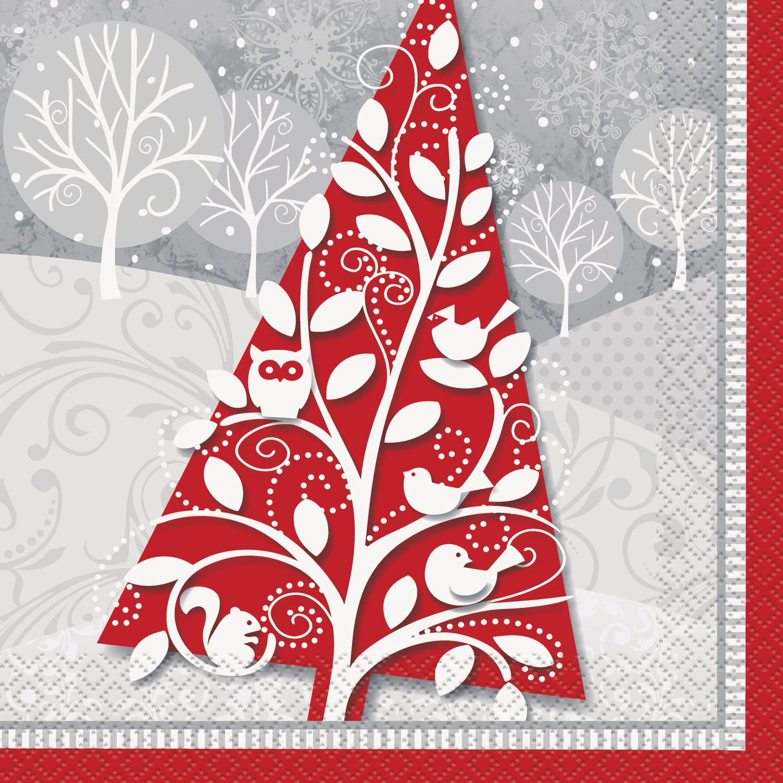 FROSTED CHRISTMAS LUNCH NAPKINS - PACK OF 24