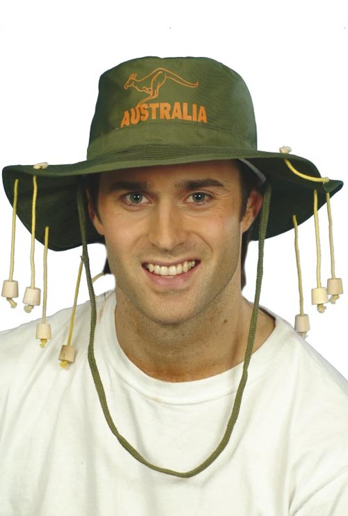 AUSTRALIAN/AUSSIE HAT WITH HANGING CORKS