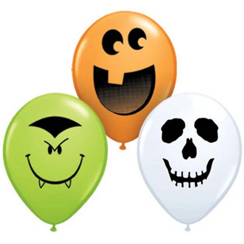 "BALLOONS LATEX - 5"" LIME, WHITE & ORANGE SCARY MIX PACK OF 6"
