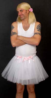ADULT MAN TUTU WITH BOWS - WHITE