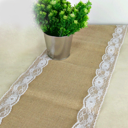 NATURAL HESSIAN TABLE RUNNER WITH WHITE LACE EDGING