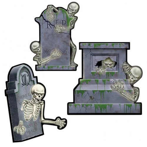 SKELETON & TOMBSTONE CUT OUTS - PACK 3