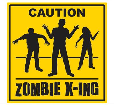 ZOMBIE CAUTION X-ING WARNING SIGN CUT OUT