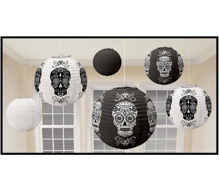 DAY OF THE DEAD SUGAR SKULL LANTERNS - SET OF 6