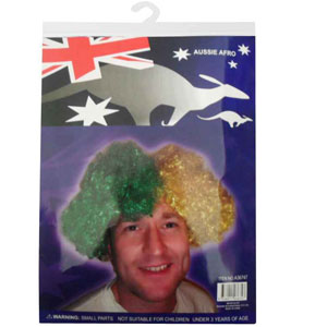 AUSSIE WIG IN CURLING GREEN & GOLD