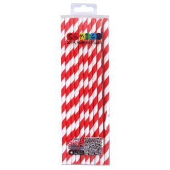 STRAWS - PAPER RED STRIPE PACK OF 20