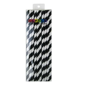 STRAWS - PAPER BLACK STRIPE PACK OF 20