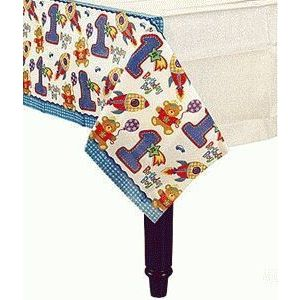 HUGS & STITCHES TABLE COVER 1ST BIRTHDAY BOY