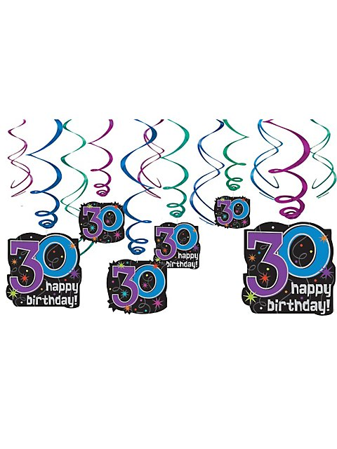 30TH BIRTHDAY SWIRL DECORATIONS 12 PACK