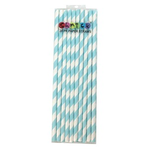 STRAWS - PAPER PASTEL BLUE STRIPE PACK OF 20