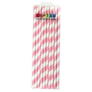 STRAWS - PAPER LIGHT PINK STRIPE PACK OF 20