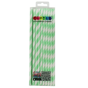 STRAWS - PAPER LIME STRIPE PACK OF 20