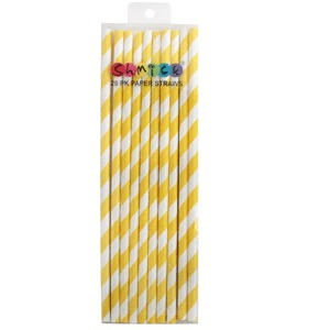 STRAWS - PAPER YELLOW STRIPE PACK OF 20