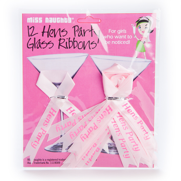 HENS PARTY GLASS RIBBONS PK 12