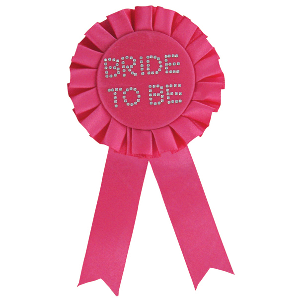 BRIDE TO BE HOT PINK ROSETTE WITH DIAMONTES