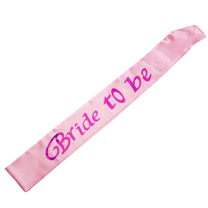 BRIDAL SASH - BRIDE TO BE FLASHING SOFT PINK