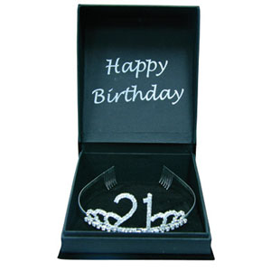 21ST BIRTHDAY DIAMONTED TIARA - GIFT BOXED