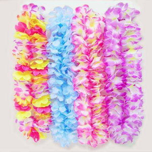HAWAIIAN FLOWER LEIS - BRIGHT SUMMER MIX PACK OF 12