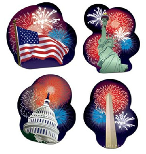 AMERICAN PATRIOTIC CUTOUTS PK OF 4
