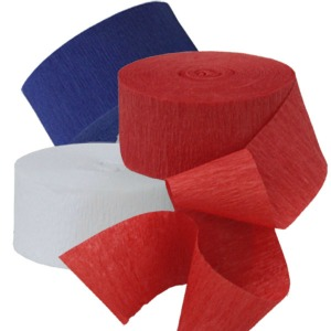 STREAMERS - CREPE IN RED, WHITE AND BLUE
