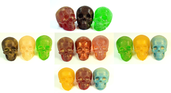 GLITTER SKULL CANDY ASSORTMENT - PACK OF 3