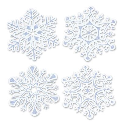 SNOWFLAKE GLITTERED CUTOUTS - LARGE SILVER & WHITE PACK OF 4