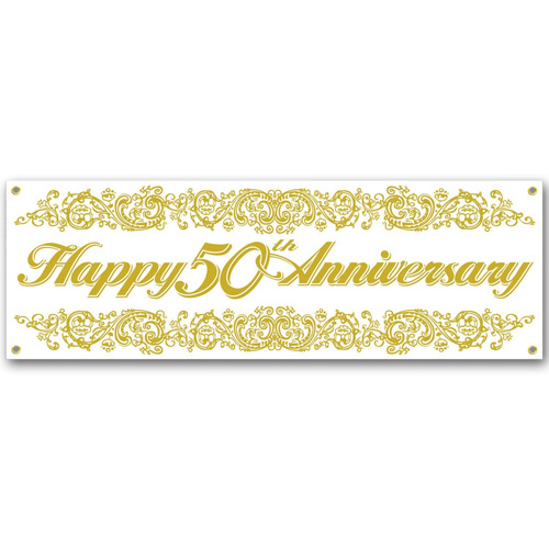 GIANT BANNER - 50TH GOLD ANNIVERSARY JUMBO SIGN