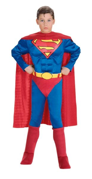 BOYS DELUXE SUPERMAN FANCY DRESS COSTUME - SMALL