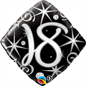 FOIL BALLOON - 18TH BIRTHDAY ELEGANT SPARKLES & SWIRLS