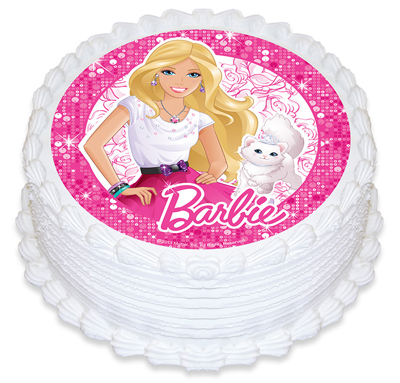 BARBIE ROUND EDIBLE ICING