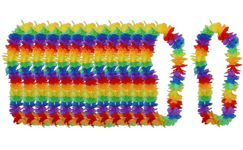 HAWAIIAN FLOWER LEIS - BULK MULTI COLOURED DELUXE PACK OF 50