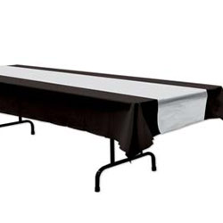 DISPOSABLE TABLECOVER - BLACK & SILVER