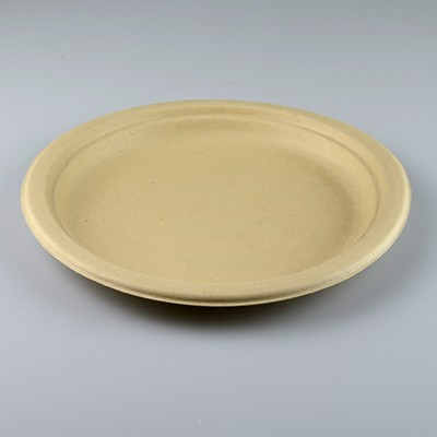NATURAL ECO PLANT FIBRE PAPER DINNER PLATES 23CM - PACK 50