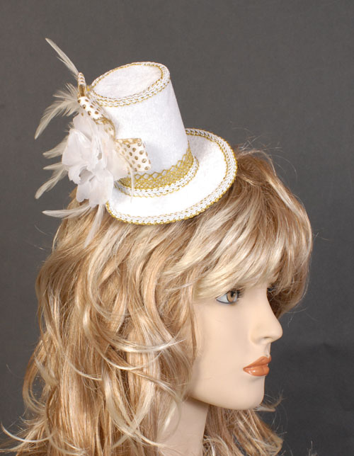 MELBOURNE CUP FASCINATOR LADIES HAT - WHITE & GOLD