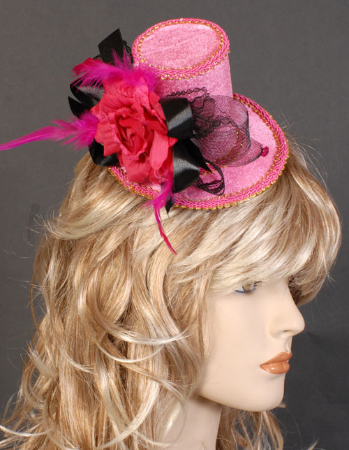 MELBOURNE CUP FASCINATOR LADIES HAT - BLACK & HOT PINK