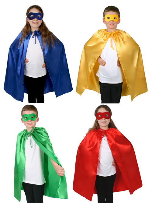CHILDS SUPER HERO CAPE & MASK SET AVAILABLE IN 4 COLOURS