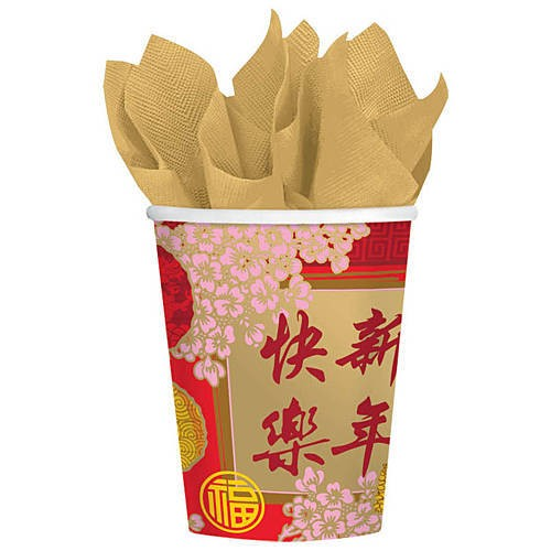 CHINESE NEW YEAR BLESSING CUPS - PACK OF 8