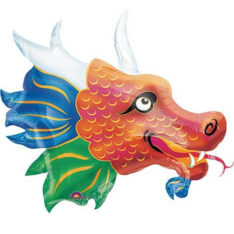FOIL SUPER SHAPE BALLOON - SMILING CHINESE DRAGON