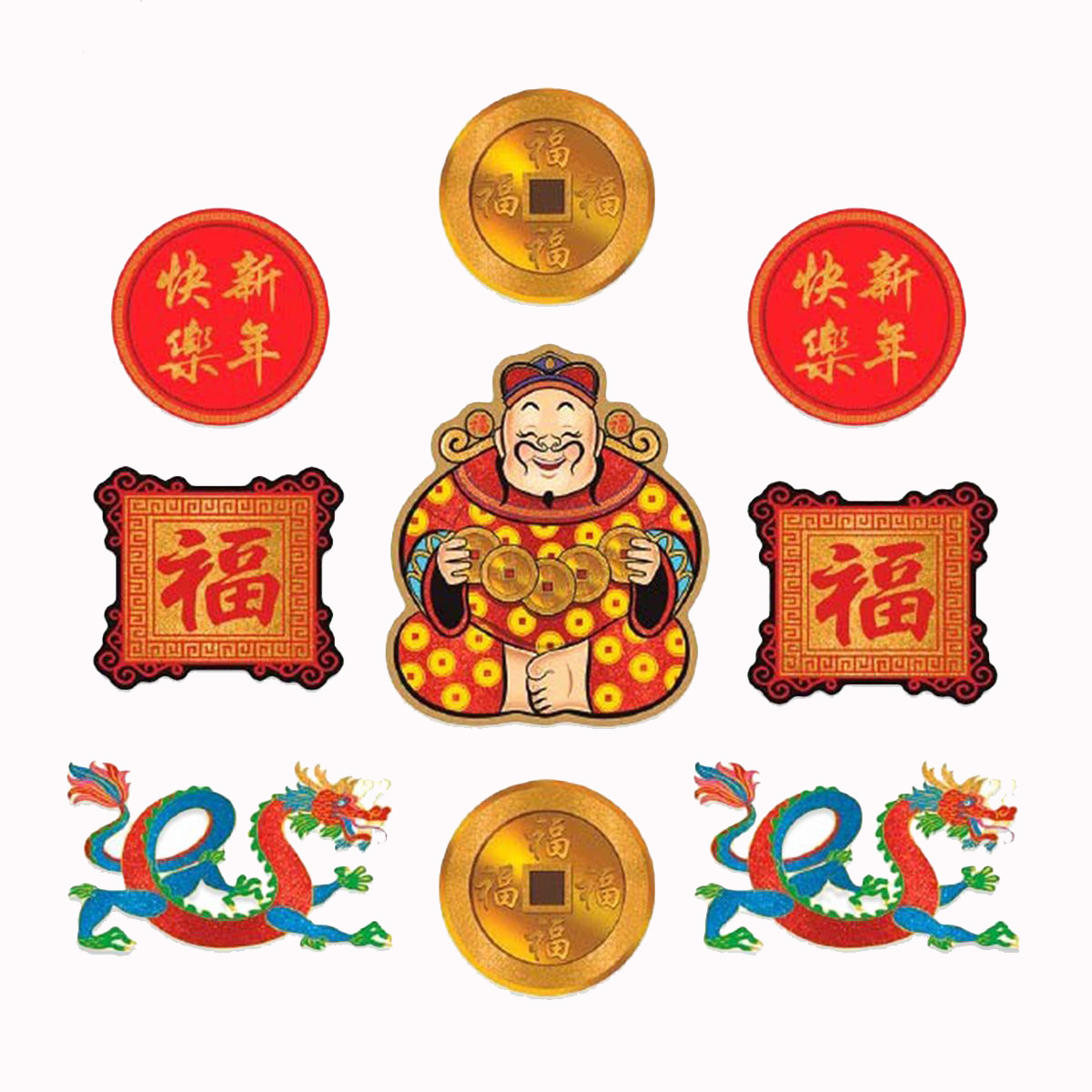 CHINESE NEW YEAR CUT OUTS - PACK OF 9
