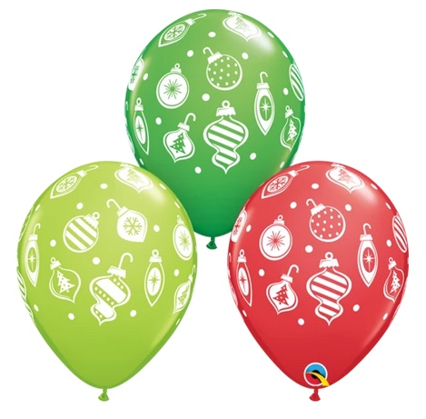 BALLOONS LATEX - CHRISTMAS ORNAMENTS DESIGN PACK OF 25