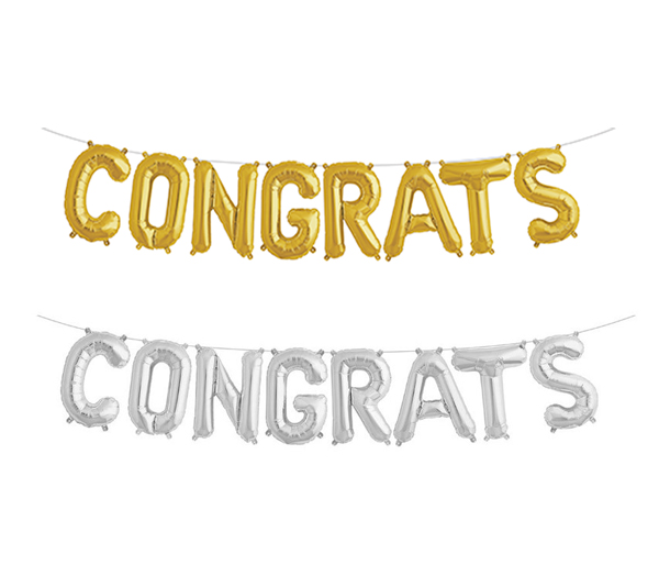 FOIL BALLOON KIT - AIR FILLED 'CONGRATS' STRING