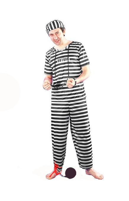 CONVICT FANCY DRESS COSTUME - ONE SIZE