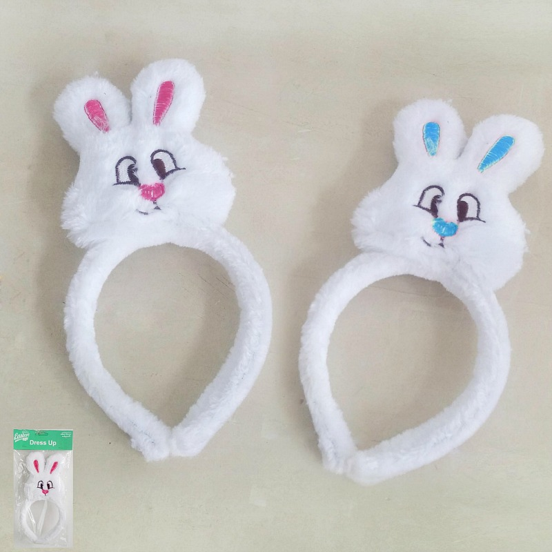 EASTER BUNNY FACE PLUSH HEADBAND PINK OR BLUE