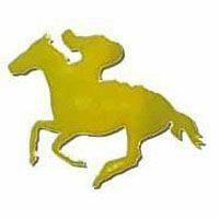 FOILBOARD GOLD HORSE & JOCKEY LARGE CUT OUTS - PACK OF 12