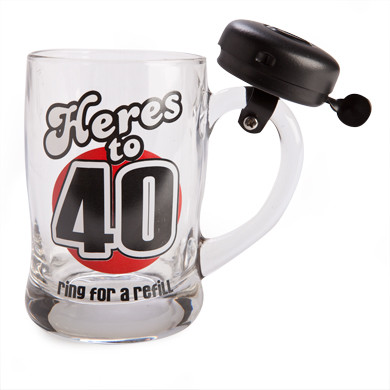\'40\' BELL MUG \'HERE\'S TO 40\' RING FOR A REFIL