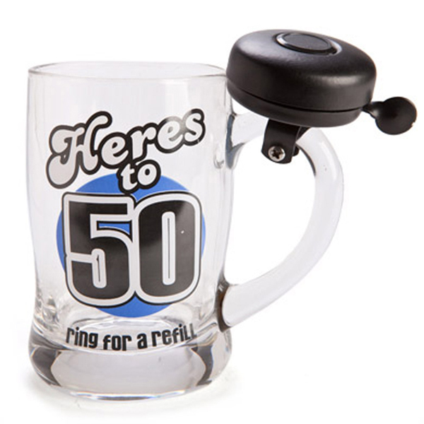 "'50' BELL MUG ""HERES TO 50"" RING FOR A REFIL"