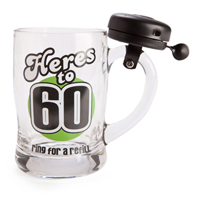 '60' BELL MUG - 'HERES TO 60' RING FOR A REFIL