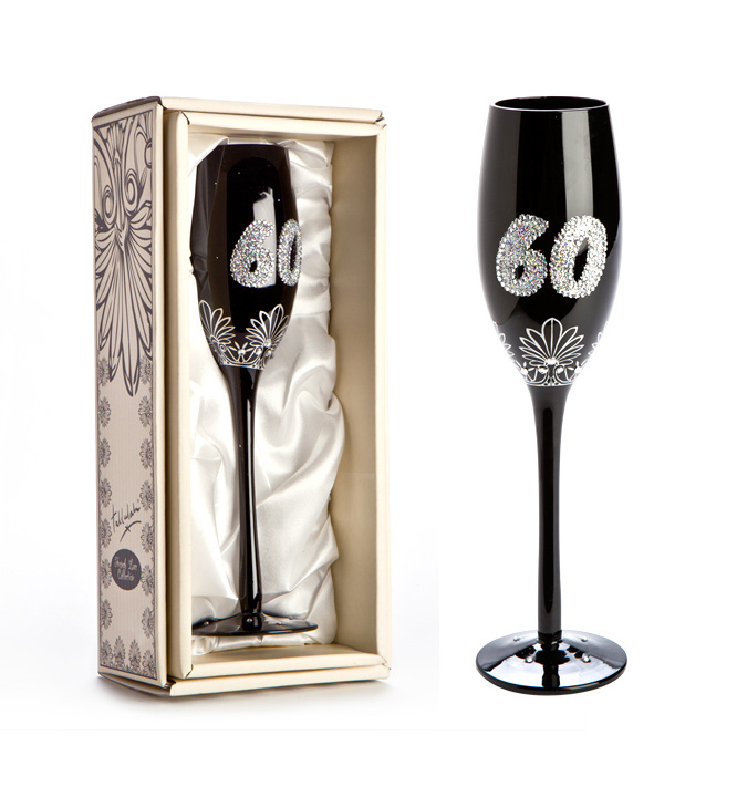 '60' BLACK CHAMPAGNE GLASS WITH GLITTER
